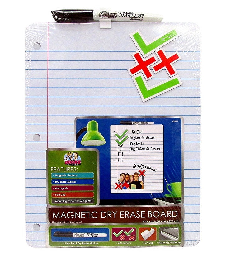 "1 Set The Board Dudes Magnetic Dry Erase Board 8.5"" x 11"" with Marker, magnets, Pen Clip and Mounting Hardware"