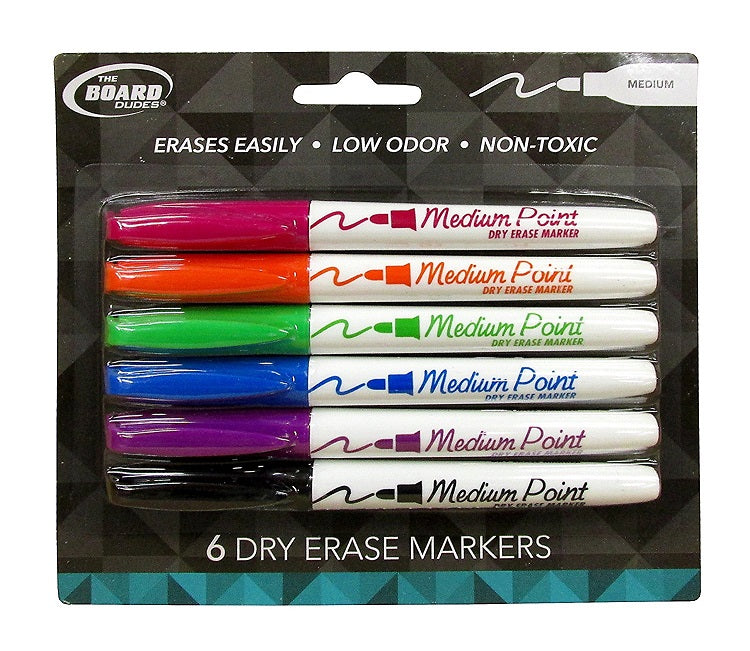 6 Pcs The Board Dudes Dry Erase Markers Medium Tip Multicolor (Black, Blue, Green, Red, Orange, Purple) - 1 Pack