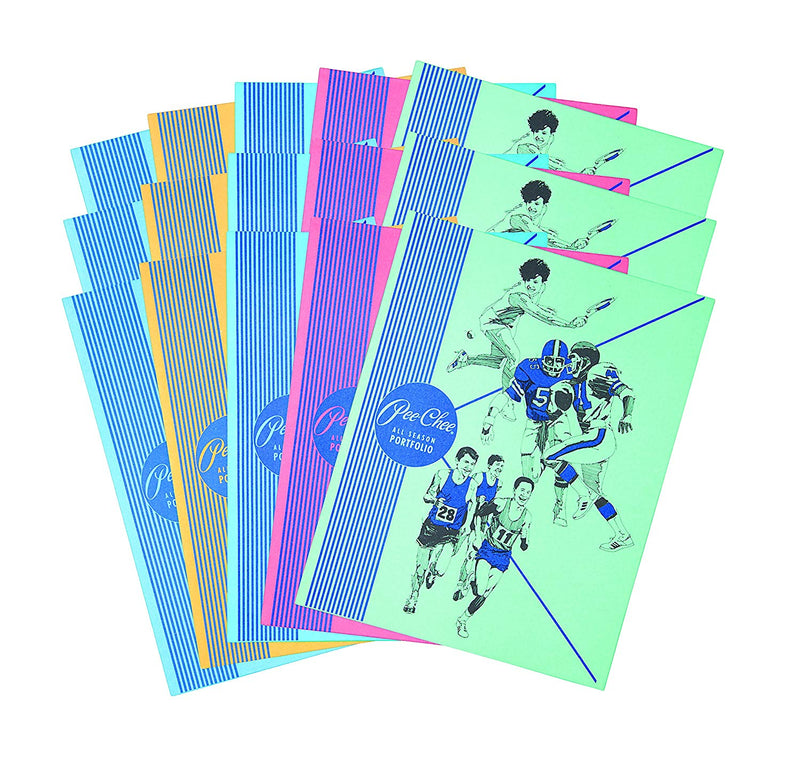 "15 Pcs Mead Two Pocket Paper Folder 12"" X 9"" Various Designs (yellow, green, red, dark blue, light blue) - 15 Pack"