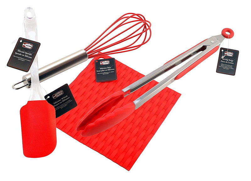3-Pc Ai-De-Chef Silicone Cooking Set ( 1 Spatula + 1 Tongs + 1 Whisk + 1 Hot Pad) - 1 Pack