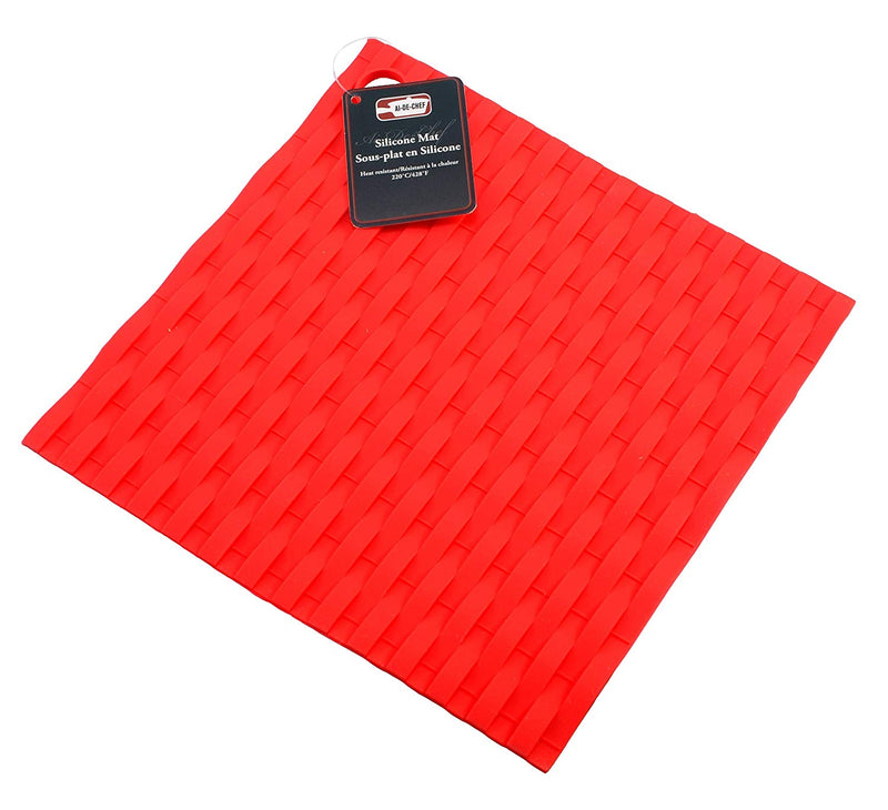 3-Pc Ai-De-Chef Red Silicone Oven Mitt and Pot Holder Set - 1 Pack
