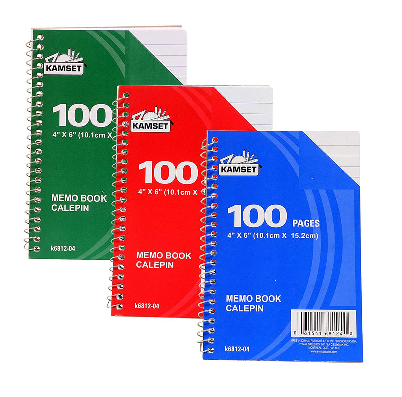 "3 Pcs Kamset Side Bound Spiral Notebooks 4""x 6"" College Ruled 100 Pages Random Color ( blue, green, red)- 3 Pack"