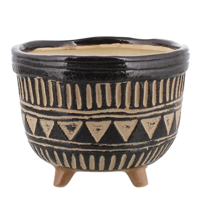 Apache Print Bowl Ceramic - Medium - Black + Natural