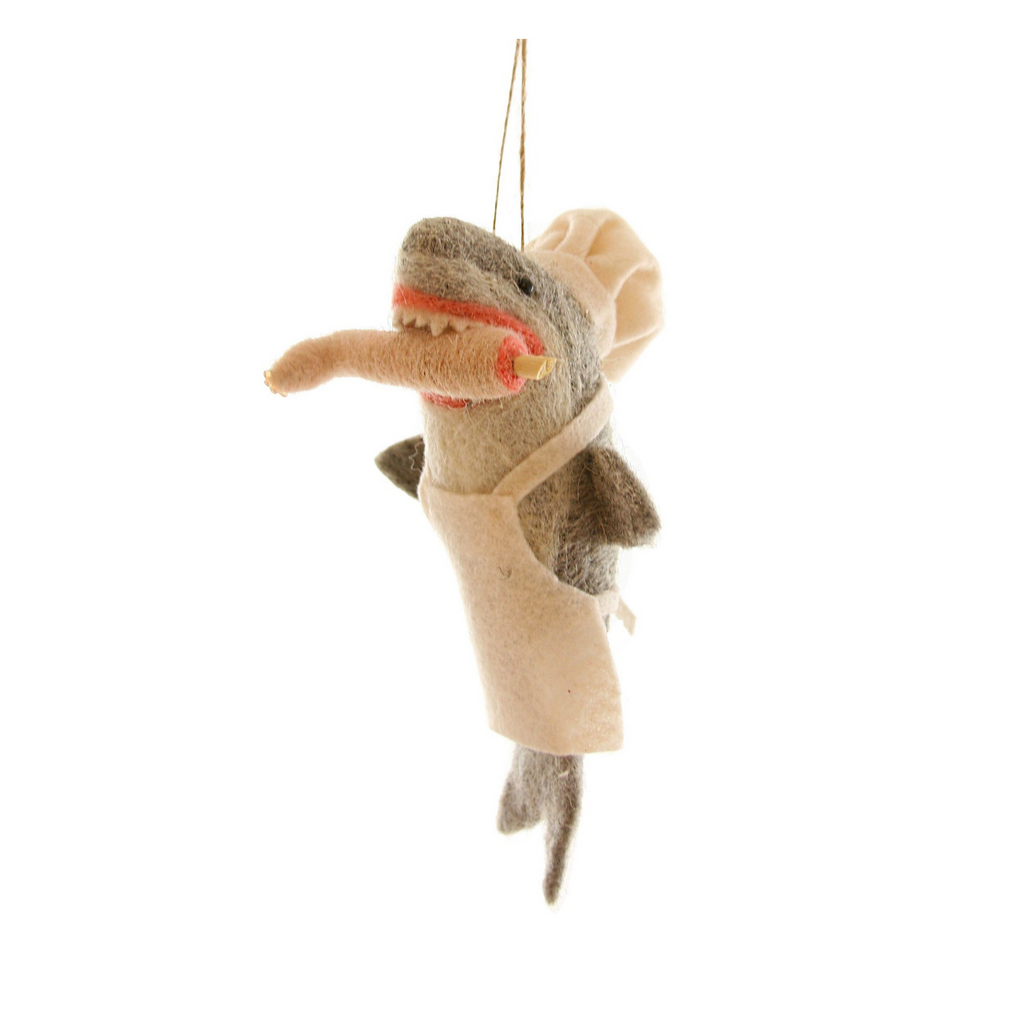 Felt Bon Apetit Shark Ornament