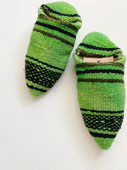 Moroccan Kilim Slippers Green