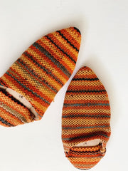 Moroccan Kilim Slippers Orange + Blue Stripe
