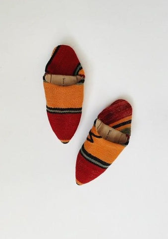 Moroccan Kilim Slippers Red Multi