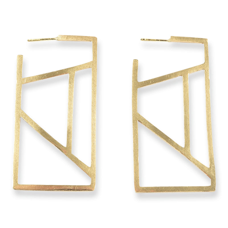 Brass Stained Glass Rectangle Post Earring