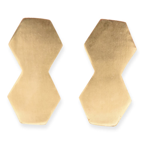 Small Brass Double Hex Earring