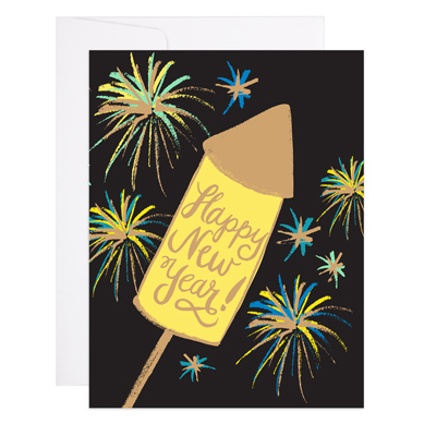 Happy New Year Fireworks Card