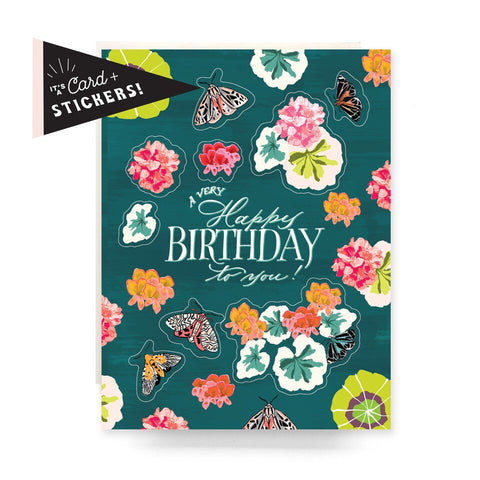 Geranium Birthday Sticker Sheet Card