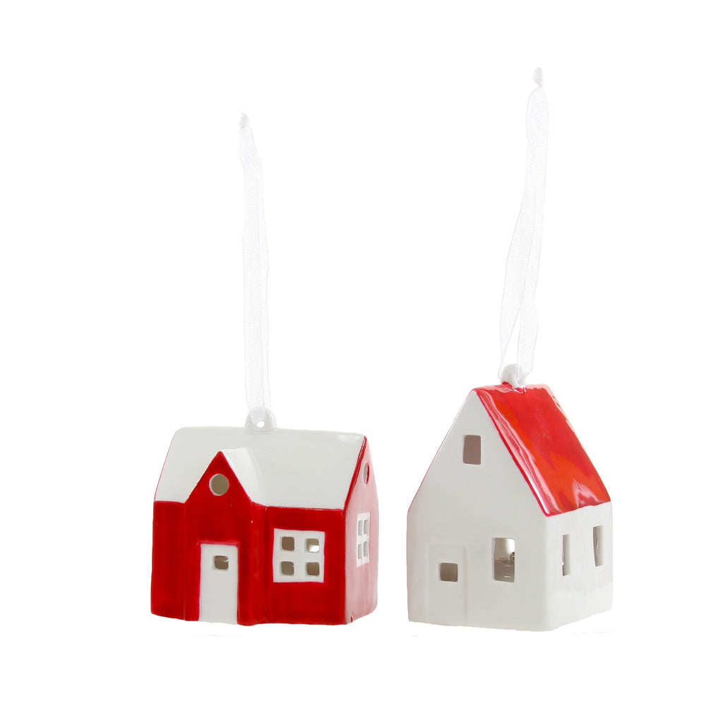 Red + White Farm House Ornament