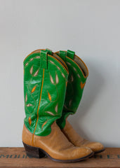 Green + Yellow Cowboy Boots