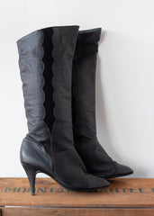 Leather + Suede Knee High Boots