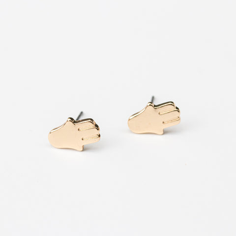 Gold Hand Stud Earrings