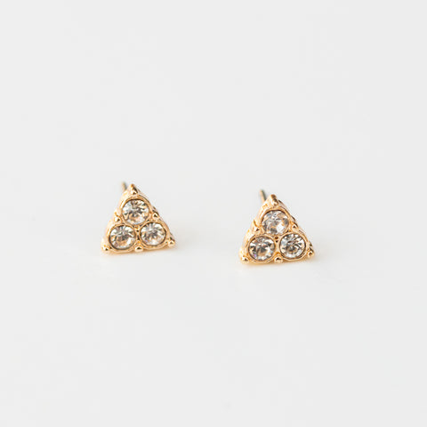 Gold Triangle Gemstone Earrings