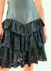 Black Leather + Lace Skirt