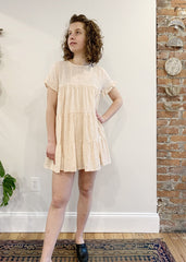 Peach Eyelet Babydoll Dress