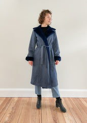 Vintage Blue Denim Faux Fur Coat