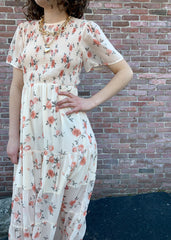 Floral Maxi Dress with Short Sleeves