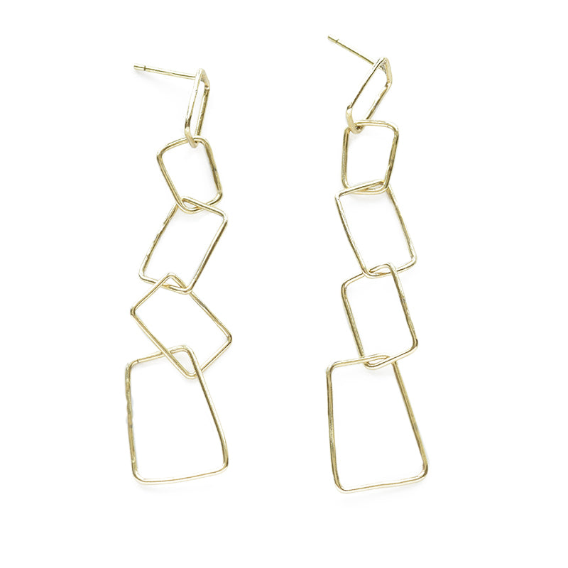 Wire Rhombus Chain Earring