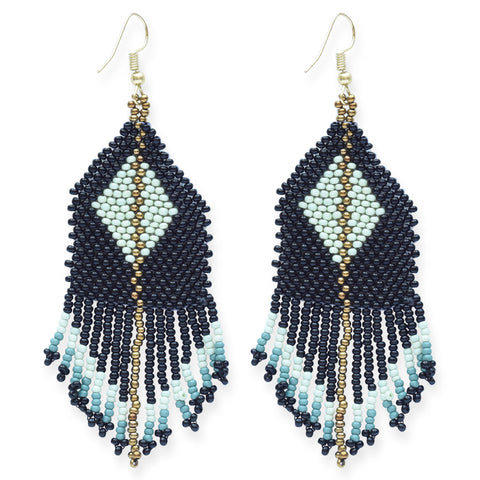 Black Mint Teal Gold Diamond with Stripe Fringe Earring