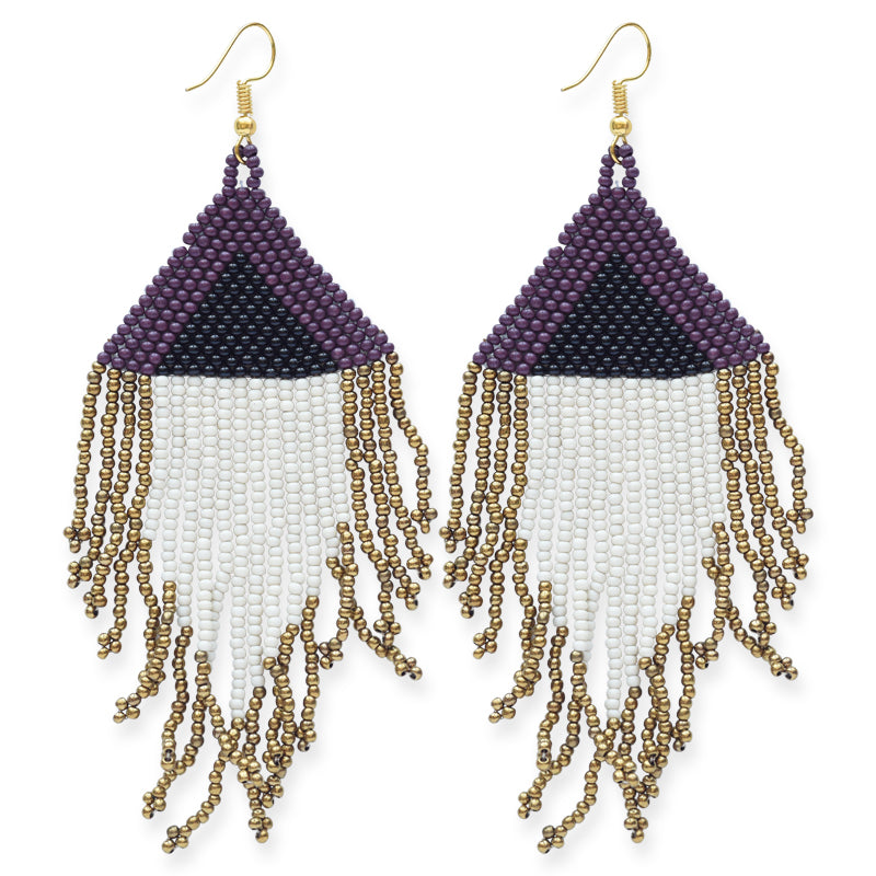 Port Ivory Black Gold Fringe Earring