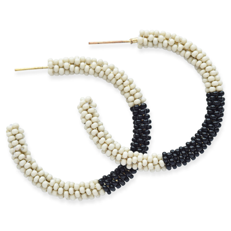 Ivory Black Color Block Small Hoop