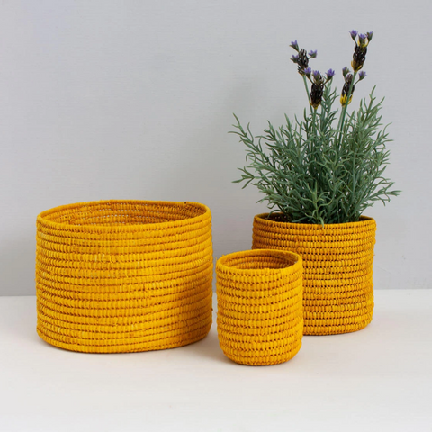 Yellow Raffia Baskets