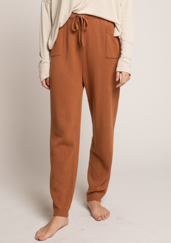 Knit Cotton Joggers in Clay