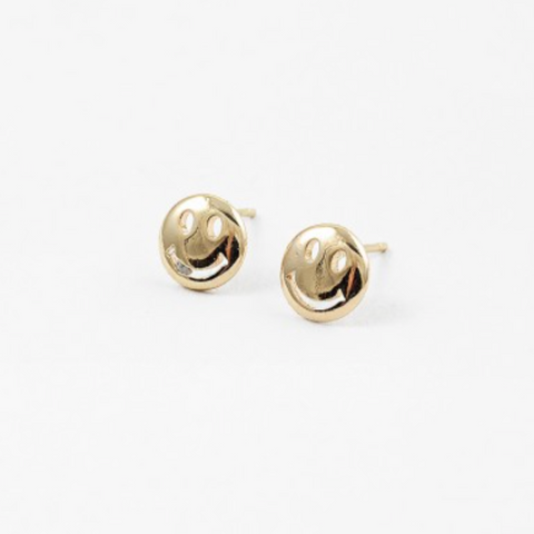 Plain Gold Smiley Studs
