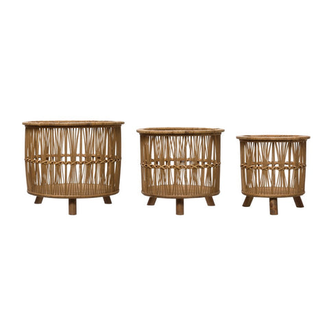 Bamboo Footed Baskets