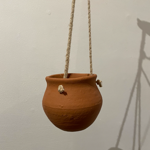 Clay + Jute Hanging Planter