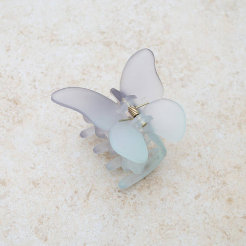 Grey + Blue Matte Butterfly Effect Hair Claw Clip