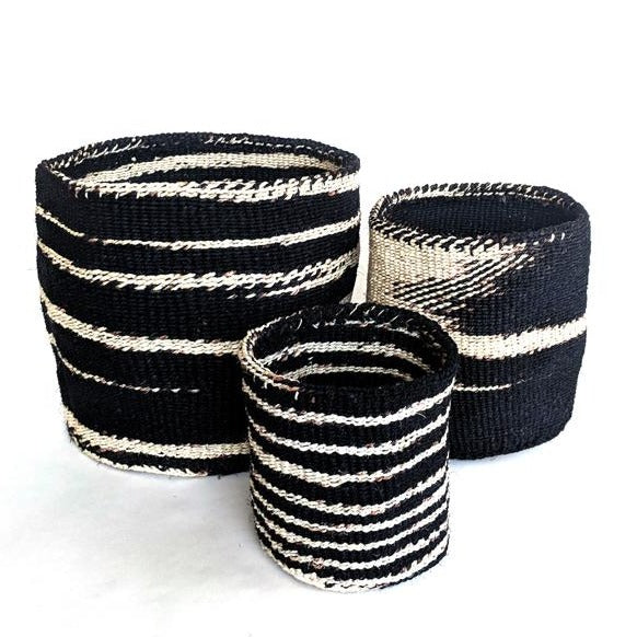 Black Ikat Sisal Basket