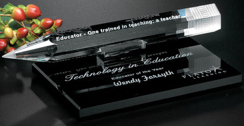Pencil Award on Black Glass Base
