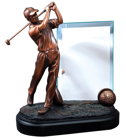 Male Golf Trophy with Engraving Glass