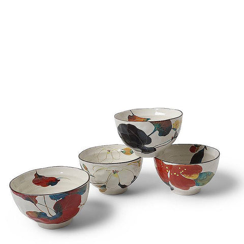 Japanese Fall Floral Rice Bowl Set of 4