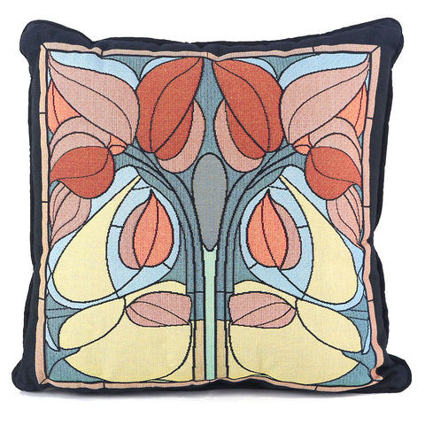 Arts & Crafts Art Nouveau Fall Floral Tapestry Pillow
