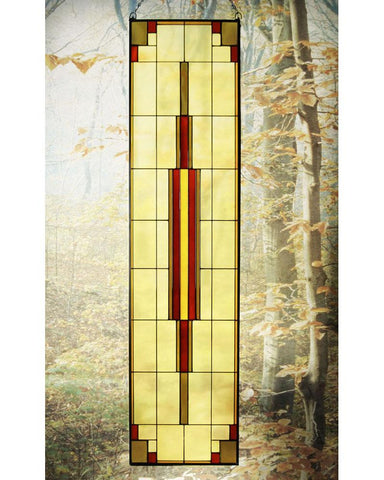 Arts and Crafts Tall Prairie Window Art Glass Panel 12