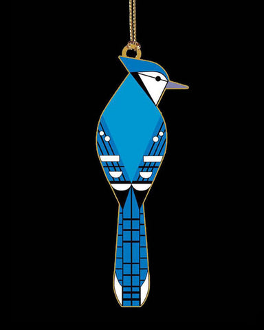 Charley Harper Brass Blue Jay Ornament Adornment