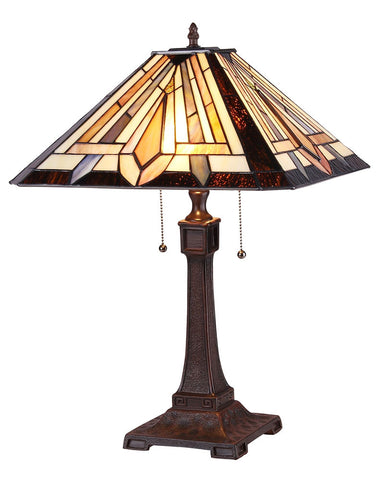 Arts & Crafts Denton Stained Glass Table Lamp