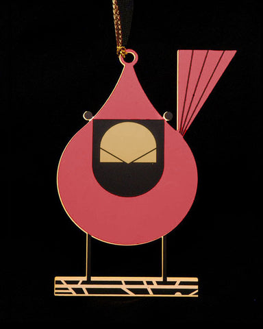 Charley Harper Brass Cardinal Close Up Ornament Adornment