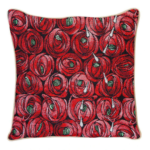 Charles Rennie Mackintosh Rose and Teardrop Tapestry Pillow