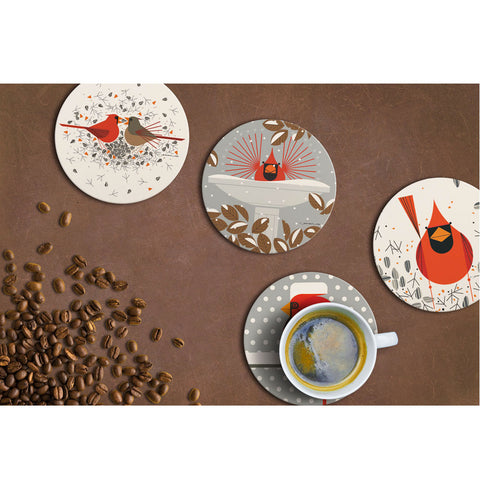 Charley Harper Cardinals Absorbent Stone Coaster Set display