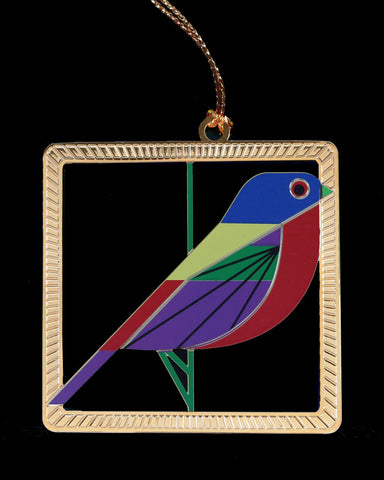 Charley Harper Brass Painted Bunting Ornament Adornment