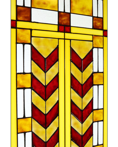 Double Chevron Art Glass Panel Red Inset