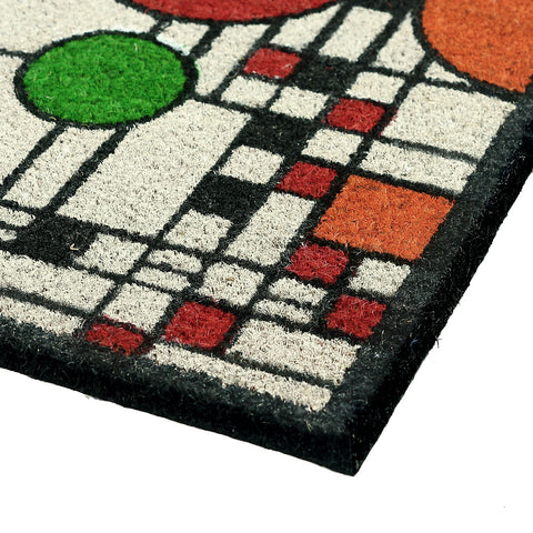 Frank Lloyd Wright Colored Coonley Playhouse Doormat Closeup