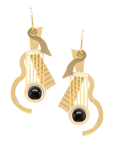 Cubist Guitar Black Glass Bead Earrings