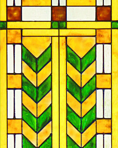 Double Chevron Art Glass Panel Green Inset